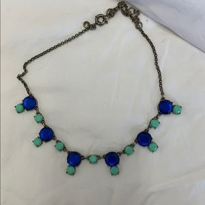 Royal blue/mint green J. Crew statement necklace